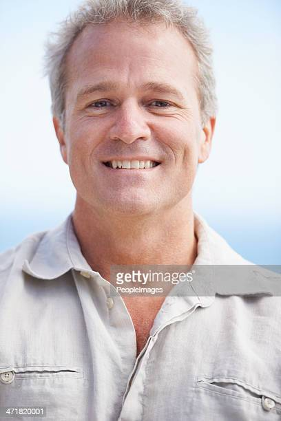enjoying some fresh sea air! - handsome 50 year old men stock pictures, royalty-free photos & images
