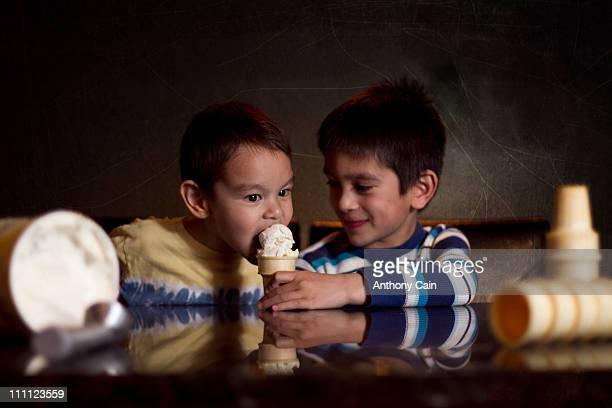 Enjoying some ice cream cones.1