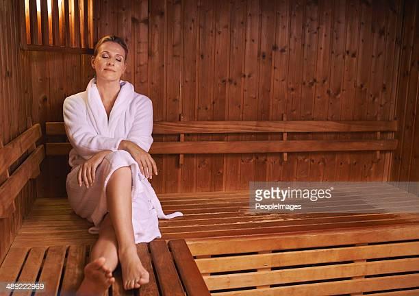 Enjoying some silence in the sauna