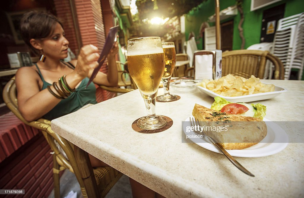 Enjoying Spanish Tapas and Beer : Stock Photo