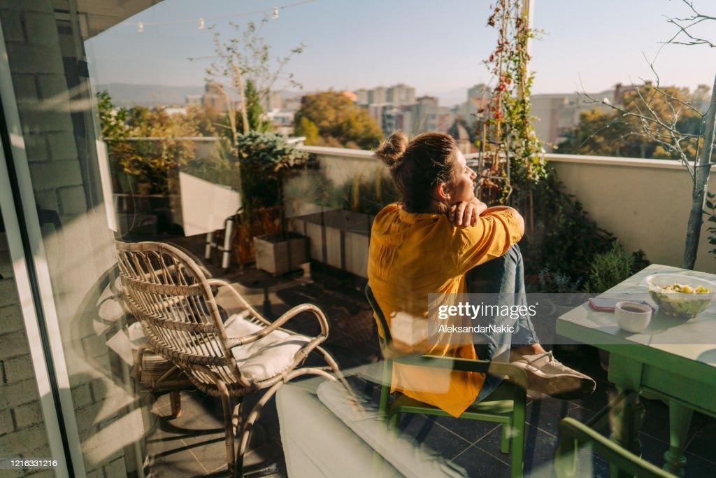 Enjoying spring on my balcony : Stock Photo