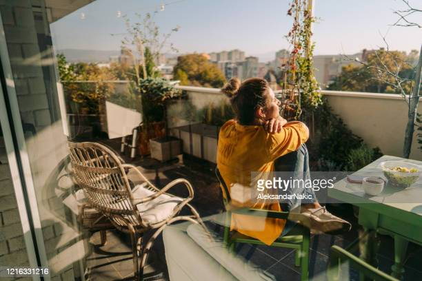 enjoying spring on my balcony - balcony stock pictures, royalty-free photos & images
