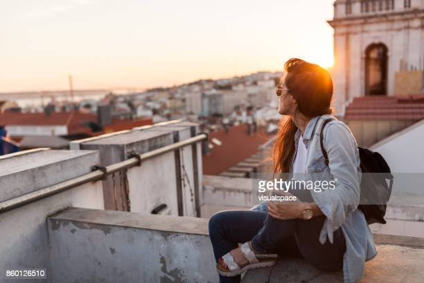 enjoying sunset in lisbon - portugal stock pictures, royalty-free photos & images