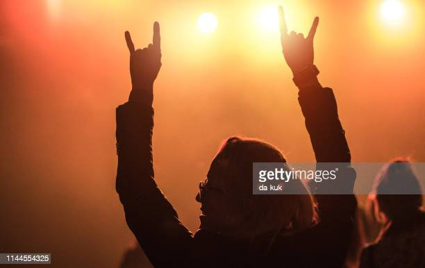 enjoying the concert / music festival - heavy metal stock pictures, royalty-free photos & images