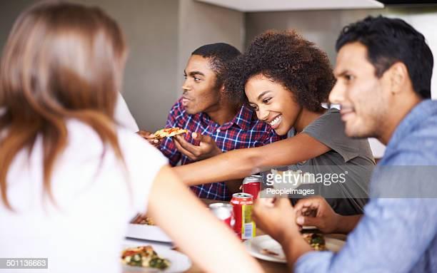 Enjoying the food and company