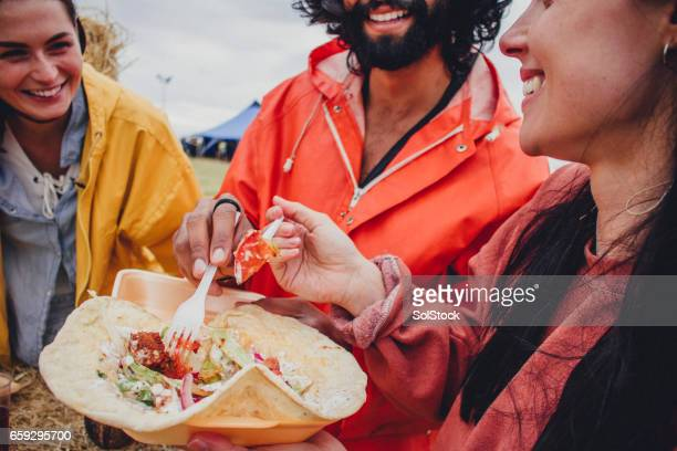 Enjoying the food at a Music Festival