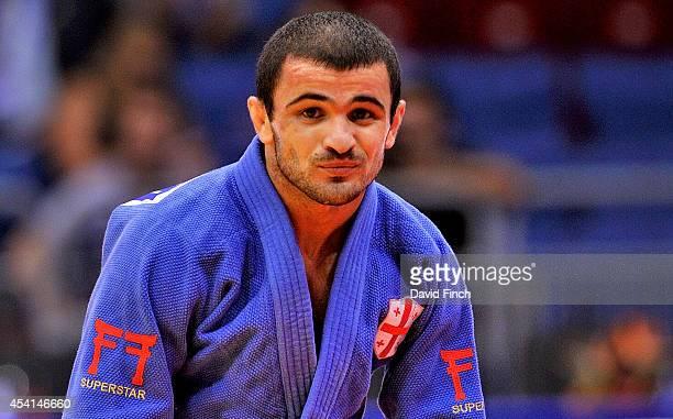 Enjoying the moment, Amiran Papinashvili of Georgia, smiles after winning the u60kg bronze medal during the Chelyabinsk Judo World Championships at...