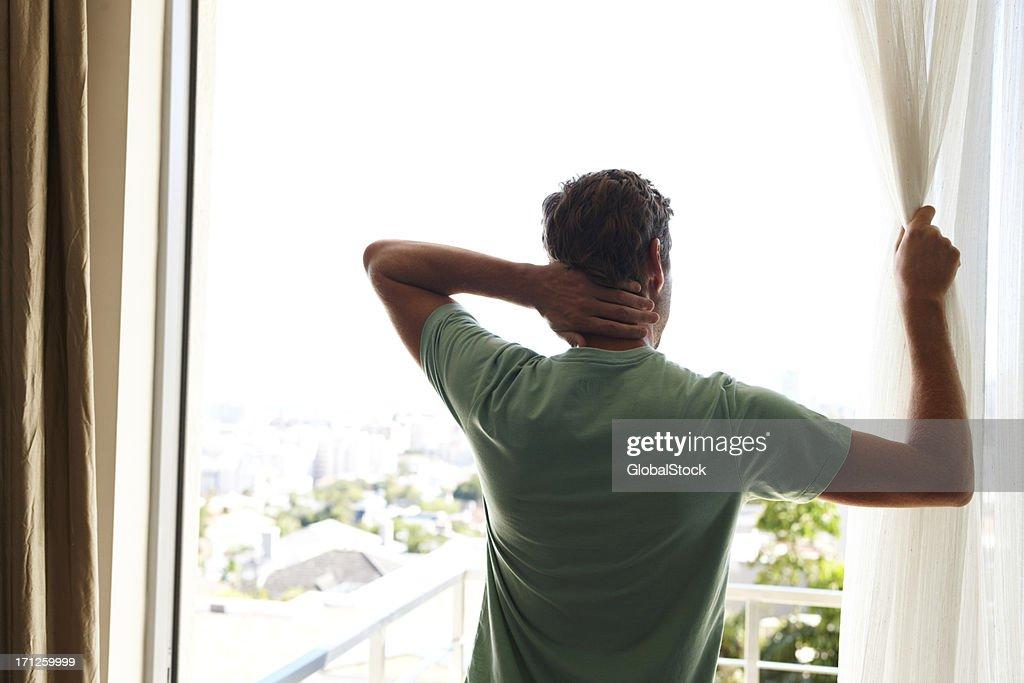 Enjoying the morning view : Stock Photo