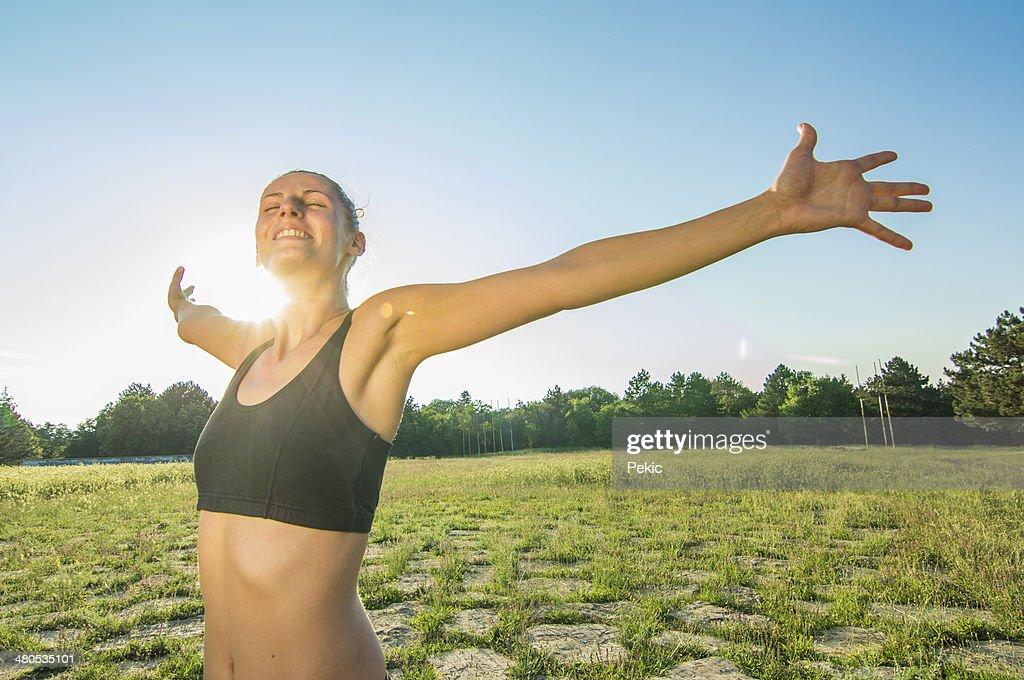 Enjoying the sun after workout : Stockfoto