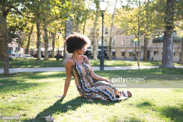enjoying the sunny weather - maxi dress stock photos and pictures
