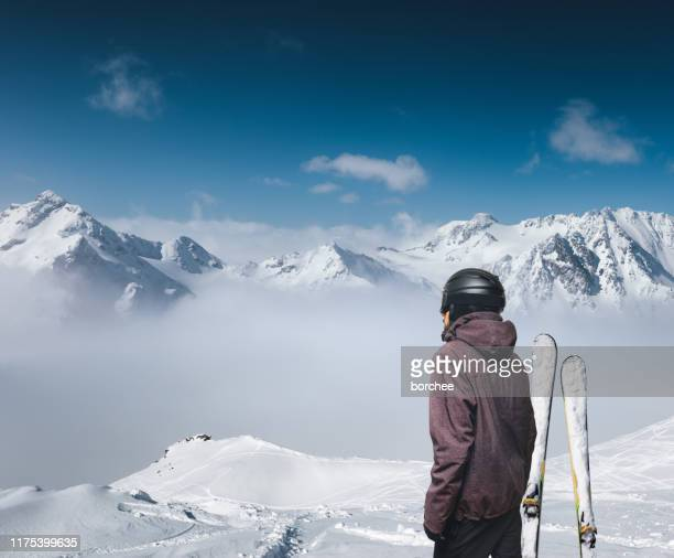 enjoying the view - snowcapped mountain stock pictures, royalty-free photos & images