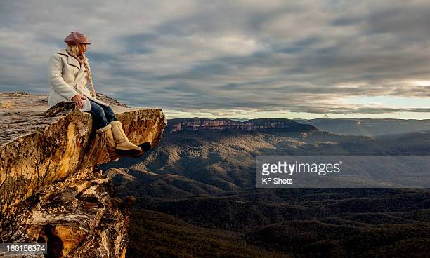 enjoying the view - blue mountains national park stock pictures, royalty-free photos & images