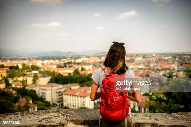 enjoying the view. - bergamo stock pictures, royalty-free photos & images