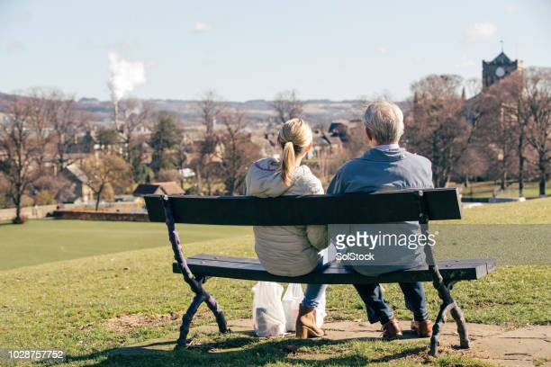 enjoying the view with his carer - vanguardians stock pictures, royalty-free photos & images