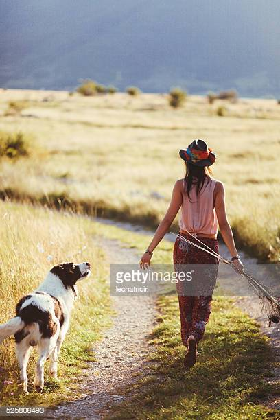 Enjoying the wild nature with a shepherd dog