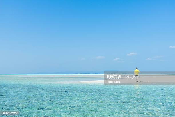 Enjoying tropical paradise beach, Okinawa, Japan