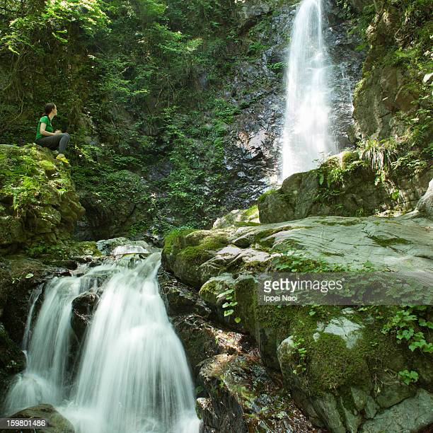 enjoying waterfall in forest, japan - ippei naoi stock photos and pictures