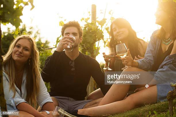 enjoying wine in the vineyard - wine vineyard stock photos and pictures