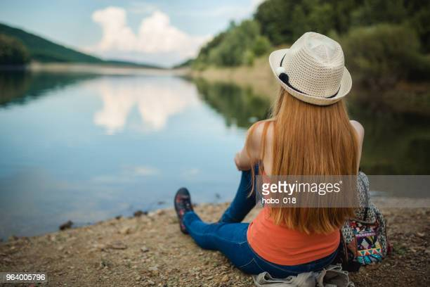enjoyment by the lake - lake auburn stock photos and pictures