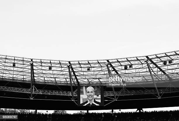 Enke's portrait is pictured on a screen board during Robert Enke's memorial service prior to Enke�s funeral at AWD Arena on November 15 2009 in...