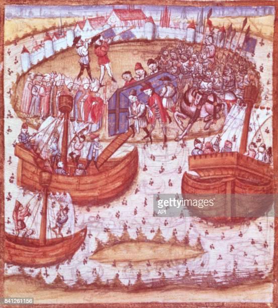Enluminure du XVème siècle présentant l'embarquement du cercueil de Saint Louis à Tunis Tunisie