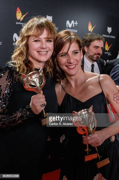 Enma Suarez and Malena Alterio receives the Best actrees Award during Feroz Awards 2018 at Magarinos Complex on January 22 2018 in Madrid Spain