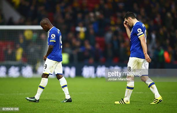 Enner Valencia and Gareth Barry of Everton look dejected in defeat after the Premier League match between Watford and Everton at Vicarage Road on...