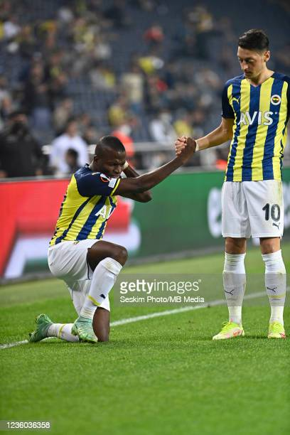 Enner Valencia and Mesut Ozil of Fenerbahce during the UEFA Europa League group D match between Fenerbahce and Royal Antwerp FC at sukru Saracoglu...