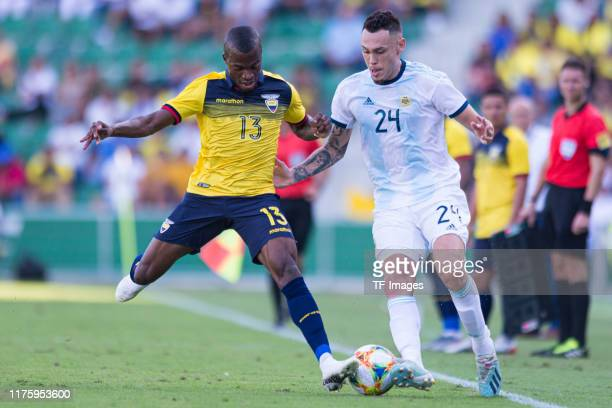 Enner Valencia of Ecuador and Lucas Ocampos of Argentina battle for the ball during the UEFA Euro 2020 qualifier between Ecuador and Argentina on...