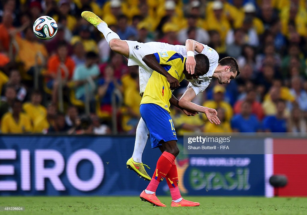 Enner Valencia of Ecuador and Morgan Schneiderlin of France compete for the ball during the 2014 FIFA World Cup Brazil Group E match between Ecuador and France at Maracana on June 25, 2014 in Rio de Janeiro, Brazil.