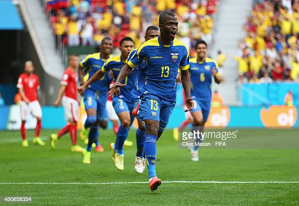 Enner Valencia of Ecuador celebrates after scoring a goal during the 2014 FIFA World Cup Brazil Group E match between Switzerland and Ecuador at...
