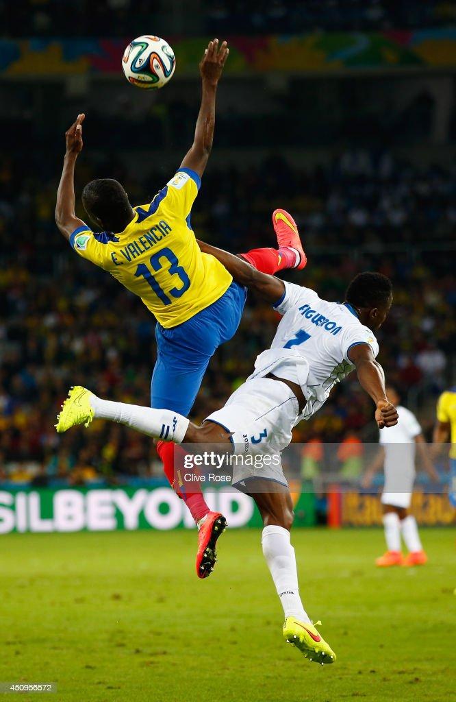 Enner Valencia of Ecuador collides with Maynor Figueroa of Honduras during the 2014 FIFA World Cup Brazil Group E match between Honduras and Ecuador at Arena da Baixada on June 20, 2014 in Curitiba, Brazil.