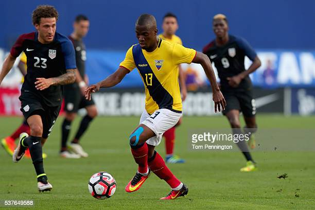 Enner Valencia of Ecuador controls the ball against Fabian Johnson of the United States during an International Friendly match at Toyota Stadium on...