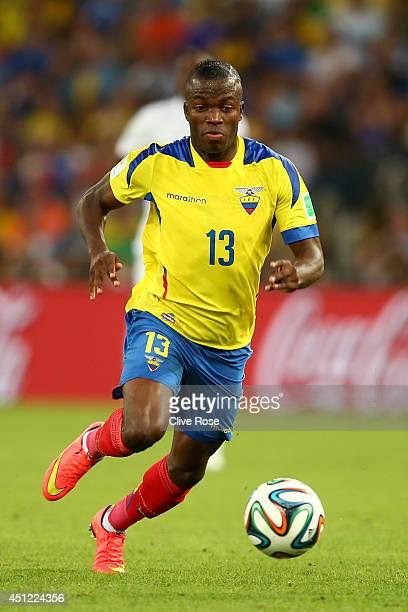 Enner Valencia of Ecuador controls the ball during the 2014 FIFA World Cup Brazil Group E match between Ecuador and France at Maracana on June 25...