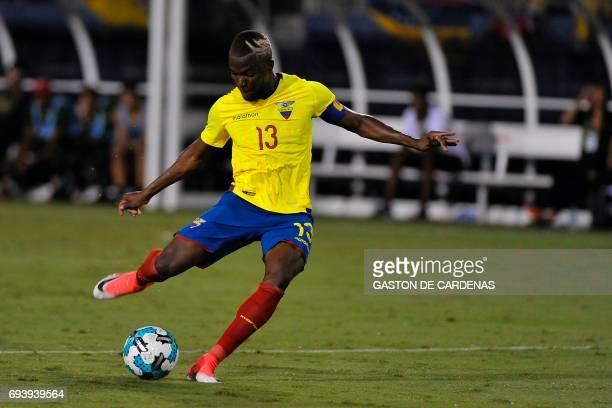 Enner Valencia of Ecuador drives the ball during a friendly match between Ecuador and Venezuela at FAU stadium in Boca Raton Florida June 8 2017 /...