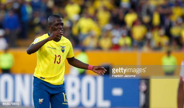 Enner Valencia of Ecuador reacts after missing a shot during a match between Ecuador and Peru as part of FIFA 2018 World Cup Qualifiers at Olimpico...