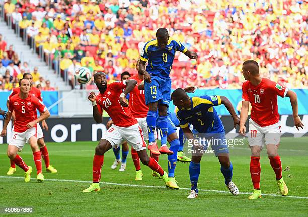 Enner Valencia of Ecuador scores his team's first goal on a header during the 2014 FIFA World Cup Brazil Group E match between Switzerland and...