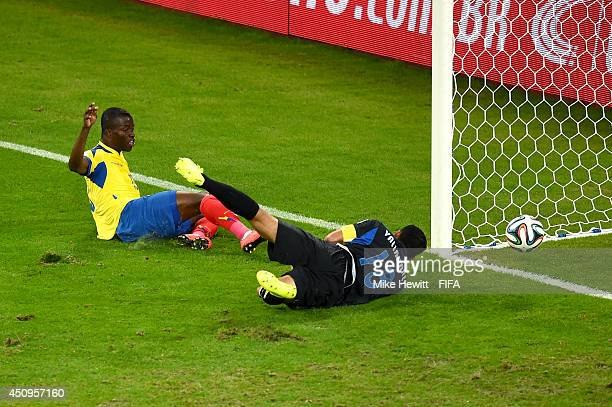 Enner Valencia of Ecuador scores his team's first goal past Noel Valladares of Honduras during the 2014 FIFA World Cup Brazil Group E match between...