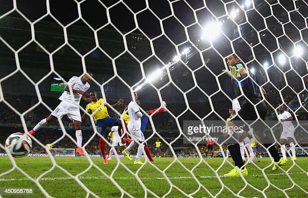 Enner Valencia of Ecuador scores his team's second goal past Noel Valladares of Honduras during the 2014 FIFA World Cup Brazil Group E match between...