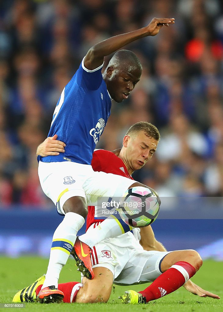 Enner Valencia of Everton battles with Ben Gibson of Middlesbrough during the Premier League match between Everton and Middlesbrough at Goodison Park on September 17, 2016 in Liverpool, England.