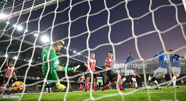 Enner Valencia of Everton scores his team's first goal during the Premier League match between Everton and Southampton at Goodison Park on January 2,...