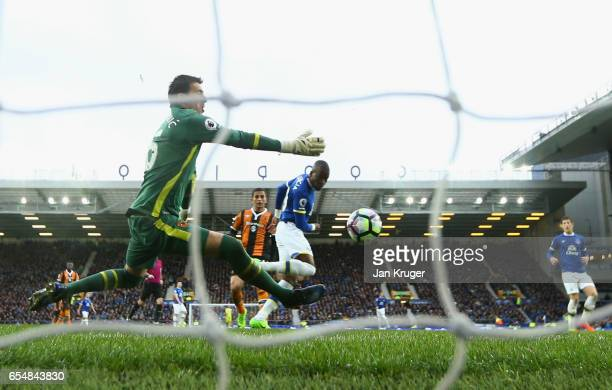 Enner Valencia of Everton scores their second goal past goalkeeper Eldin Jakupovic of Hull City during the Premier League match between Everton and...