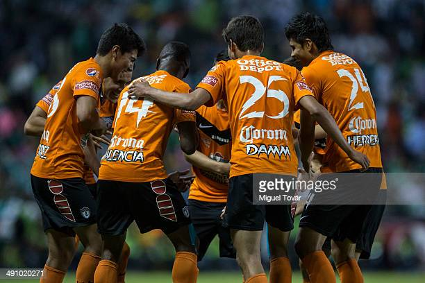 Enner Valencia of Pachuca celebrates with teammates after scoring his second goal of the game and and his team during the Championship first leg...