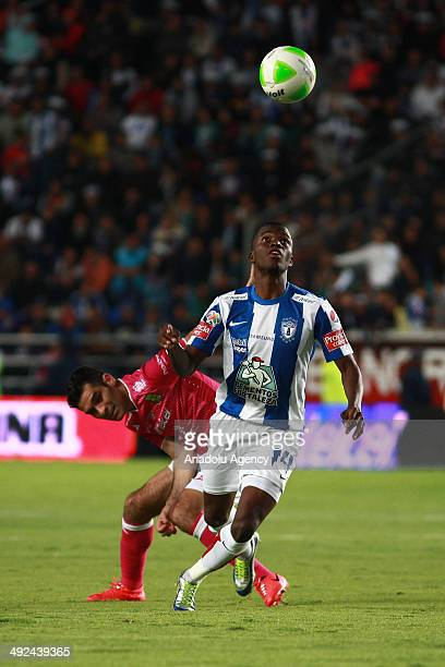 Enner Valencia of Pachuca vies for the ball with Rafael Marquez of Leon during the Liga BBVA Bancomer MX final match between Pachuca and Leon at...