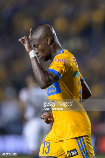 Enner Valencia of Tigres celebrates after scoring his team first goal during the semifinal second leg match between Tigres UANL and America as part...