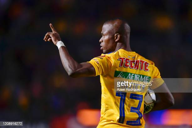 Enner Valencia of Tigres celebrates after scoring his team's first goal during the round of 16 match between Tigres UANL and Alianza as part of the...