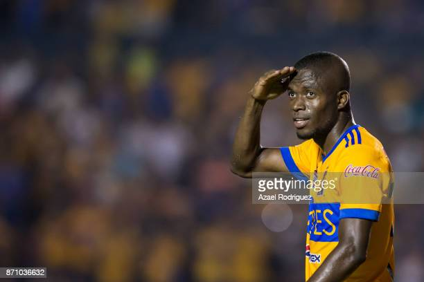 Enner Valencia of Tigres celebrates after scoring his team's first goal during the 16th round match between Tigres UANL and Necaxa as part of the...
