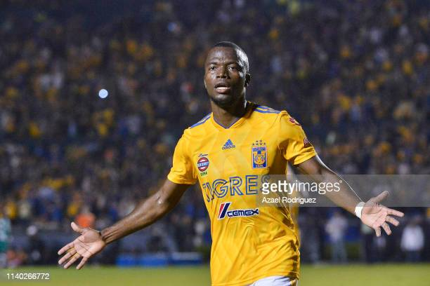 Enner Valencia of Tigres celebrates after scoring his team's third goal during the semifinal match between Tigres UANL and Santos Laguna as part of...
