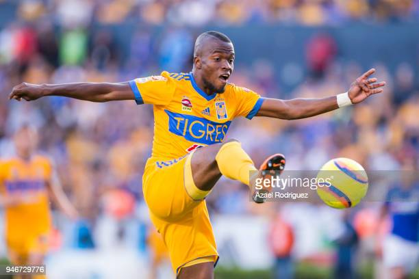 Enner Valencia of Tigres controls the ball during the 15th round match between Tigres UANL and Cruz Azul as part of the Torneo Clausura 2018 Liga MX...