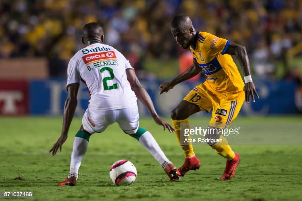 Enner Valencia of Tigres fights for the ball with Brayan Beckeles of Necaxa during the 16th round match between Tigres UANL and Necaxa as part of the...